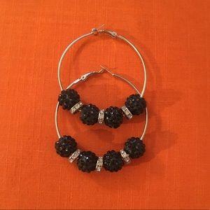 Black Rhinestone ball hoop earrings